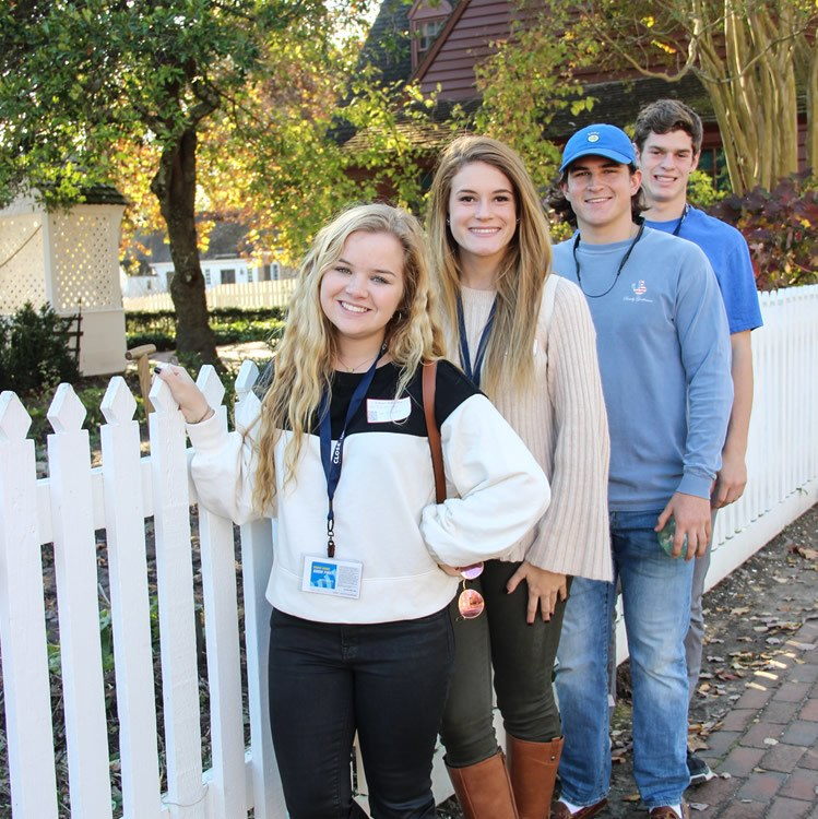 High school students learning about American history in Williamsburg Virginia