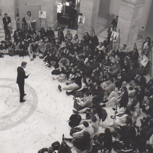 Students on Close Up speaking with congressman on Capitol Hill in 1980s